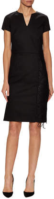 Pure Navy Lace-Up Sheath Dress