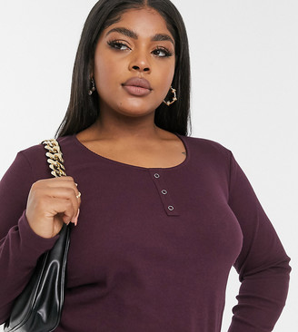 Vero Moda Curve ribbed top with scoop neck in burgundy