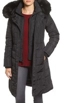 1 Madison Women's Faux Fur Trim Hooded Down & Feather Fill Long Coat