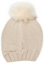 Copper Key Girls Rib-Knit Bow Faux-Fur Pom Hat