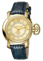 Roberto Cavalli Womens Blue Leather Strap Watch With Gold Dial.