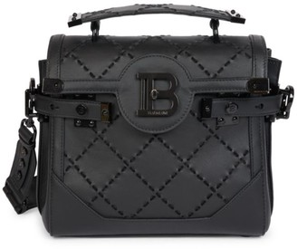 Balmain B-Buzz Stitched Leather Satchel