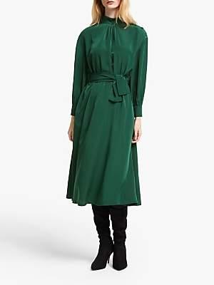 John Lewis & Partners High Neck Tie Waist Dress