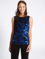 Marks and Spencer Embellished Slash Neck Shell Top