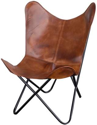 Amerihome AmeriHome Natural Leather Butterfly Chair