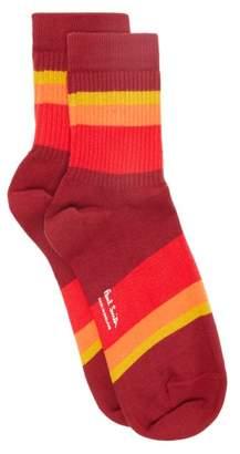 Paul Smith Striped Cotton Blend Socks - Mens - Red Multi