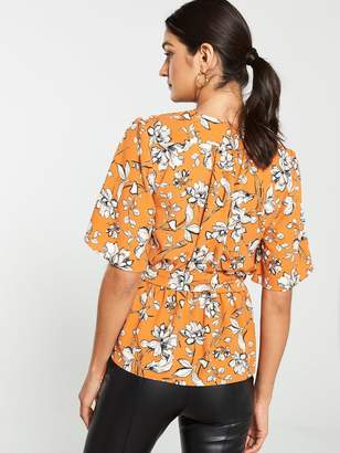 Very Angel Sleeve Wrap Blouse - Rust