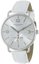 Akribos XXIV Women's AK658SSW Essential Stainless Steel Watch with White Leather Band