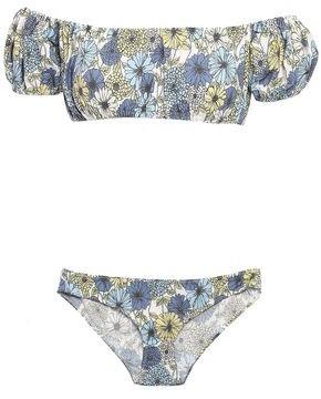 Lisa Marie Fernandez Off-the-shoulder Floral-print Cotton-blend Bikini