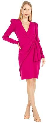 Badgley Mischka Crepe Buckle Dress (Raspberry) Women's Dress