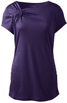 Lands' End Women's Short Sleeve Knot Neck Ruched Top-Evergreen