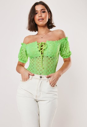 Missguided Lime Bardot Lace Crochet Trim Bodysuit