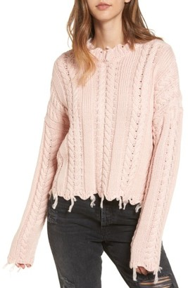 Moon River Women's Frayed Hem Cable Knit Sweater