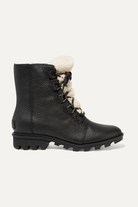 Sorel Phoenix Shearling-trimmed Waterproof Textured-leather Ankle Boots - Black