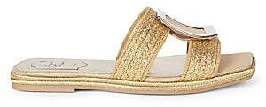 Roger Vivier Women's Bikiviv Woven Metallic Flat Sandals