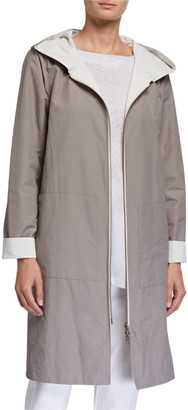 Eileen Fisher Organic Cotton/Nylon Reversible Hooded Jacket