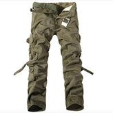 WSLCN Men's Relaxed Casual Cargo Trousers Outdoors Work Wear Utility Multi pockets