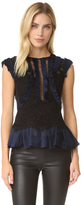 Rebecca Taylor Sleeveless Vien Lace Top