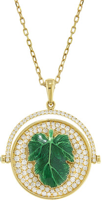 Nevernot Ready 2 Display Large Diamond Green Enamel Fig Double Sided Yellow Gold Necklace