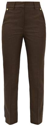 Petar Petrov Helen Houndstooth And Contrast-back Wool Trousers - Womens - Black Brown