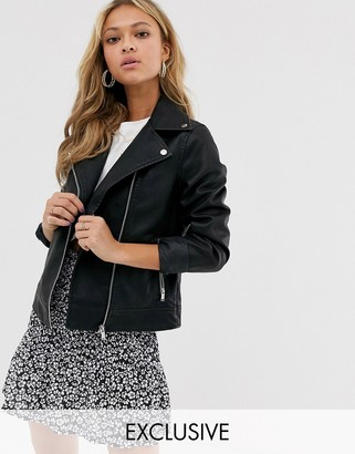 New Look oversized biker jacket in pu