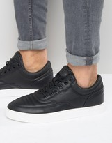 Pull&bear Faux Leather Trainers In Black With Contrast Sole