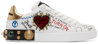 Dolce & Gabbana White Heart Graffiti Portofino Sneakers