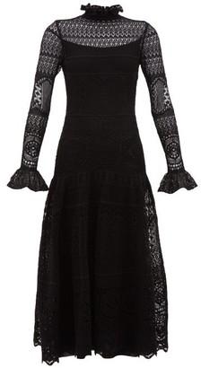 Alexander McQueen High-neck Lace-knitted Cotton-blend Dress - Womens - Black
