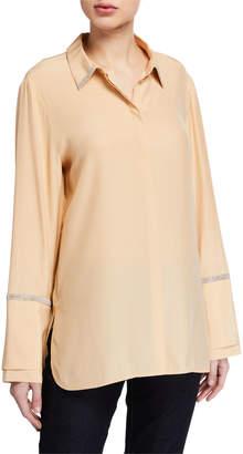 Lafayette 148 New York Katja Long-Sleeve Matte Silk Blouse w/ Chain Detail