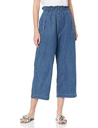 Miss Selfridge Women's Blue Paperbag Elastic Waist Crop Trousers,6 (Manufacturer Size:6)