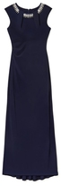 Vince Camuto Embellished-neckline Shirred Gown
