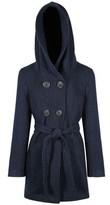 Anastasia Beverly Hills Navy Tweed Women's Hooded Belted Winter Coat Blue