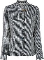 Fay striped standing collar blazer - women - Cotton/Polyamide/Polyester/Cupro - 44