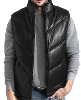 Black Seamed Lambskin Leather Bubble Vest