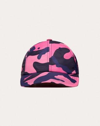 Valentino Garavani Uomo Nylon Camouflage Baseball Cap Man Navy Camo/pink Polyamide 100% 58