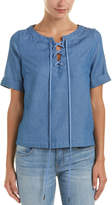 Lucca Couture Lace-Up Denim Top