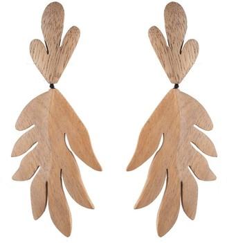 Natori Acacia Wood Tan Leaf Clip Earrings