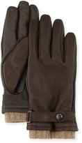 Neiman Marcus Belted Leather Tech Gloves, Brown