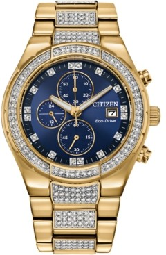 Citizen Men's Chronograph Eco-Drive Crystal Gold-Tone Stainless Steel Bracelet Watch 42mm