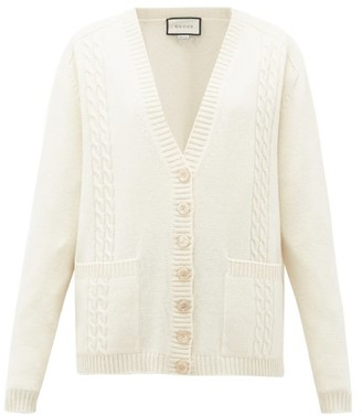 Gucci Gg-embroidered Cabled-wool Cardigan - Womens - Cream