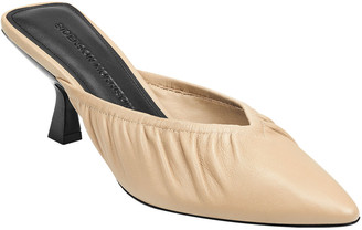 Sigerson Morrison Betsey Ruched Leather Kitten-Heel Mule Pumps