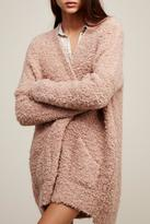 Free People Chunky Pink Boucle Cardigan