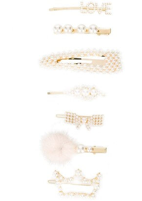 MonnaLisa Pearl-Embellished Hair Clip Set
