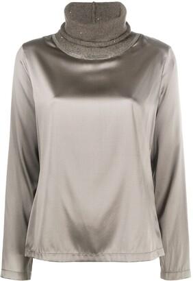 Fabiana Filippi Sequin Embellished Contrast Neck Blouse