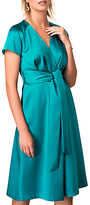Closet Pleated Front Tie Wrap Dress, Teal