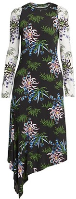 Kenzo Asymmetrical Mixed Print Dress