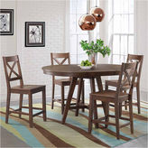 Asstd National Brand Dining Possibilities 5-Piece Round Counter Height Dining Set with X-Back Stools