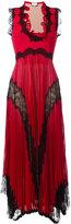 Gucci plissé pleated lace insert gown - women - Silk/Polyester/Spandex/Elastane/Metallic Fibre - S