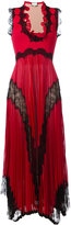 Gucci plissé pleated lace insert gown