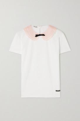 Miu Miu Bow-detailed Silk Organza-trimmed Cotton-jersey T-shirt - White